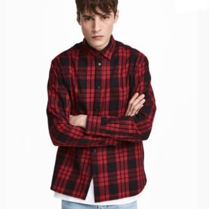 L.O.G.G. Red Flannel Button Down Shirt - M